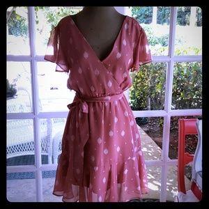Dusty pink print dress size XS